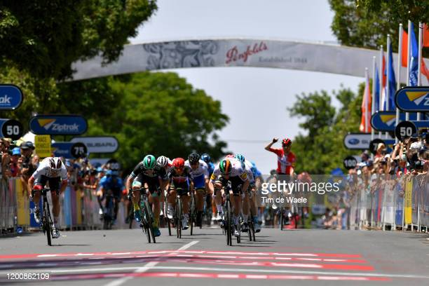 Sprint / Arrival / Sam Bennett of Ireland and Team Deceuninck QuickStep / Jasper Philipsen of Belgium and UAE Team Emirates / Eric Baska of Slovakia...
