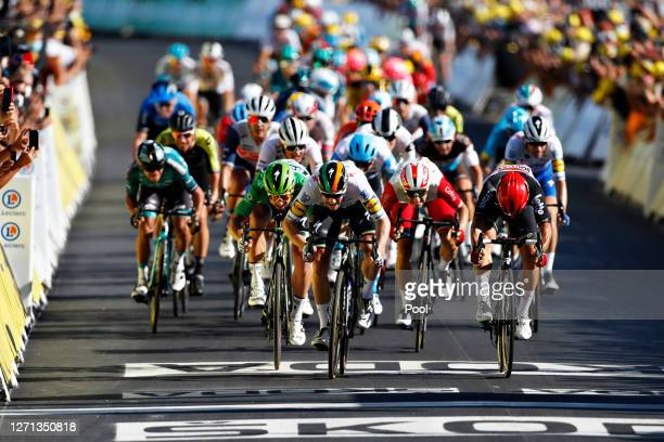 Sprint / Arrival / Sam Bennett of Ireland and Team Deceuninck - Quick-Step / Caleb Ewan of Australia and Team Lotto Soudal / Peter Sagan of Slovakia...