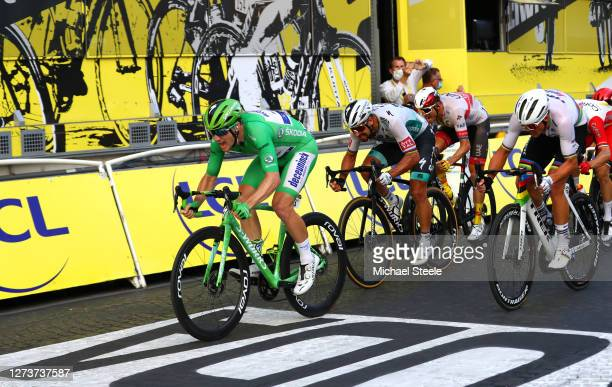 Sprint / Arrival / Sam Bennett of Ireland and Team Deceuninck - Quick-Step Green Points Jersey / Mads Pedersen of Denmark and Team Trek - Segafredo...