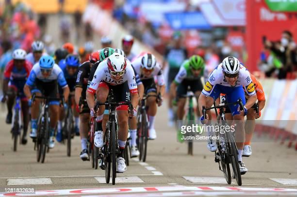 Sprint / Arrival / Sam Bennett of Ireland and Team Deceuninck - Quick-Step / Jasper Philipsen of Belgium and UAE Team Emirates / Jakub Mareczko of...