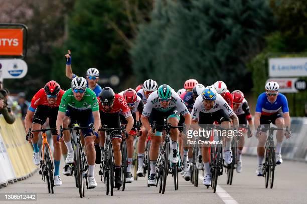 Sprint / Arrival / Sam Bennett of Ireland and Team Deceuninck - Quick-Step Green sprint jersey, Nacer Bouhanni of France and Team Arkea - Samsic,...
