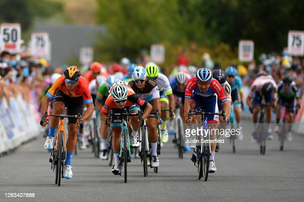Sprint / Arrival / Sonny Colbrelli of Italy and Team Bahrain McLaren / Bryan Coquard of France and Team BB Hotels Vital Concept Orange Leader Jersey...