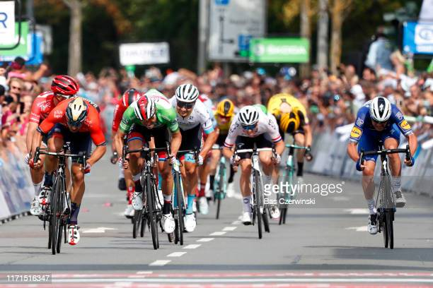 Sprint / Arrival / Sonny Colbrelli of Italy and Team Bahrain - Merida / Alexander Kristoff of Norway and UAE - Team Emirates Green Sprint Jersey /...