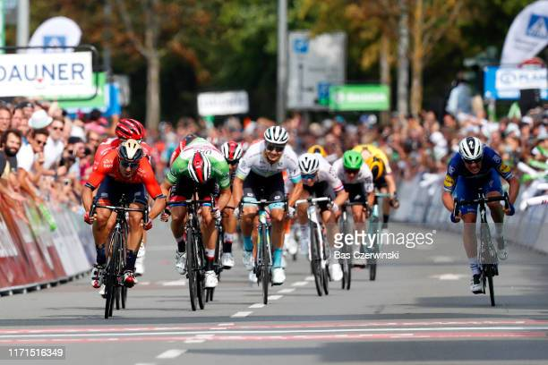 Sprint / Arrival / Sonny Colbrelli of Italy and Team Bahrain Merida / Alexander Kristoff of Norway and UAE Team Emirates Green Sprint Jersey / Yves...