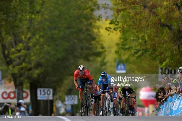 Sprint / Arrival / Sonny Colbrelli of Italy and Team Bahrain - Merida / Alejandro Valverde Belmonte of Spain and Movistar Team / Jack Haig of...