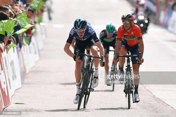 Sprint / Arrival / Tao Hart Geoghegan of United Kingdom and Team Sky / Vincenzo Nibali of Italy and Team Bahrain Merida / Rafal Majka of Poland and...