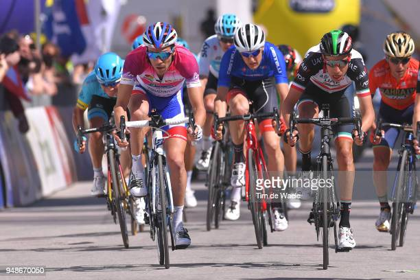 Sprint / Arrival / Thibaut Pinot of France and Team Groupama FDJ Purple leader jersey Fabio Aru of Italy and UAE Team Emirates / during the 42nd Tour...