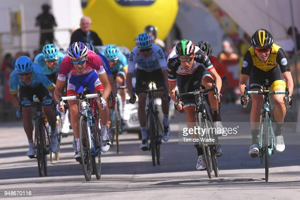 Sprint / Arrival / Thibaut Pinot of France and Team Groupama FDJ Purple leader jersey Fabio Aru of Italy and UAE Team Emirates / Koen Bouwman of The...