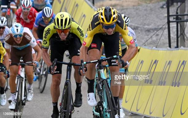 Sprint / Arrival / Wout Van Aert of Belgium and Team Jumbo - Visma / Daryl Impey of South Africa and Team Mitchelton - Scott / Benoit Cosnefroy of...