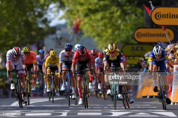 Sprint / Arrival / Wout Van Aert of Belgium and Team JumboVisma / Elia Viviani of Italy and Team Deceuninck QuickStep / Caleb Ewan of Australia and...