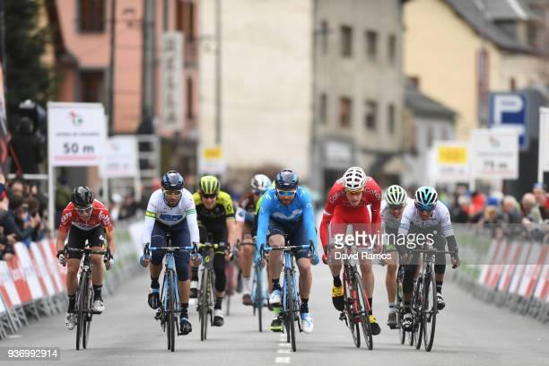 Sprint / Bjorg Lambrecht of Belgium and Team Lotto Soudal / Alejandro Valverde Belmonte of Spain and Team Movistar White Leader Jersey / Jose Joaquin...