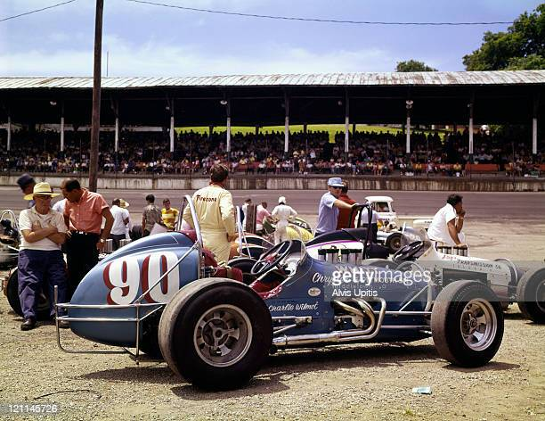 Sprint cars before races held on July 7 1968 at Dayton Ohio
