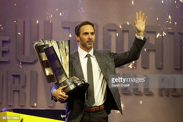 Sprint Cup Champion Jimmie Johnson holds the NASCAR Sprint Cup Trophy during NASCAR After The Lap at The Pearl concert theater at Palms Casino Resort...