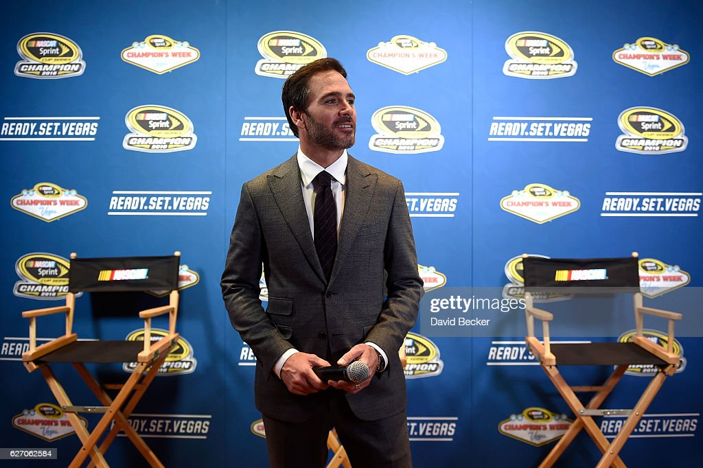 Sprint Cup champion Jimmie Johnson looks on during media availability after the NASCAR NMPA Myers Brothers Awards Luncheon at Wynn Las Vegas on December 1, 2016 in Las Vegas, Nevada.