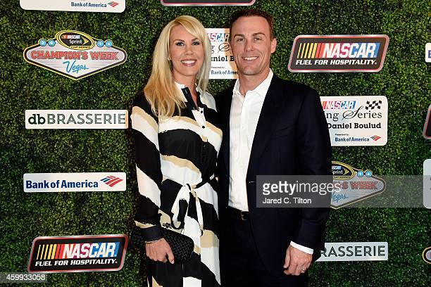 Sprint Cup Champion Kevin Harvick poses with his wife DeLana during the NASCAR Evening Series with Chef Daniel Boulud presented by Bank of America at...