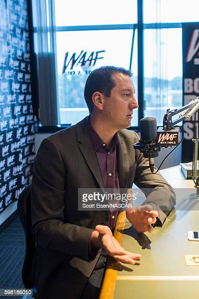 Sprint Cup Champion Kyle Busch during an interview with Mistress Carrie on WAAFFM on August 31 2016 in Boston Massachusetts Kyle Busch will be racing...