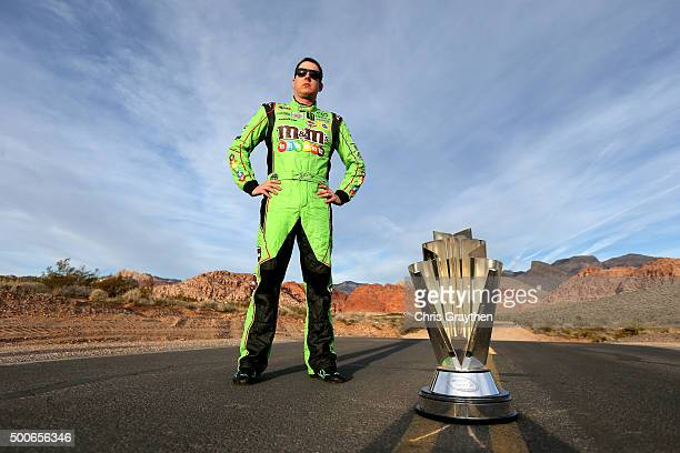 Sprint Cup Champion Kyle Busch poses at Red Rock Canyon National Conservation Area on December 3 2015 in Las Vegas Nevada