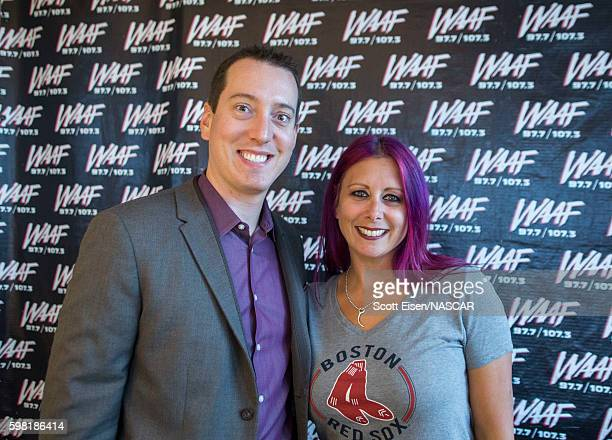 Sprint Cup Champion Kyle Busch with Mistress Carrie after an interview on WAAFFM on August 31 2016 in Boston Massachusetts Kyle Busch will be racing...