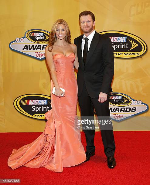 Sprint Cup driver Dale Earnhardt Jr and girlfriend Amy Reimann arrive on the red carpet for the NASCAR Sprint Cup Series Champion's Awards at Wynn...