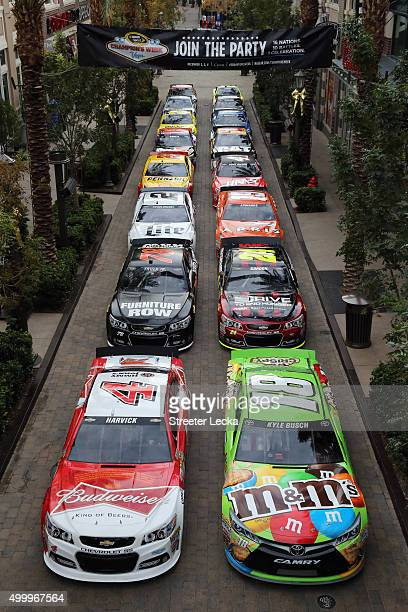 Sprint Cup Series cars are seen in front of The LINQ Hotel Casino on December 4 2015 in Las Vegas Nevada