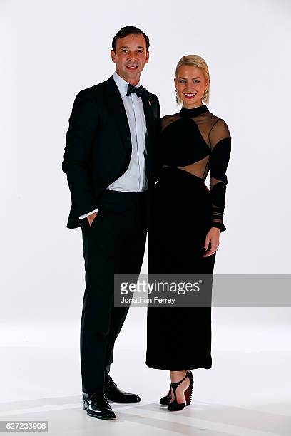 Sprint Cup Series Champion Crew Chief Chad Knaus and his wife Brooke pose for a portrait during the 2016 NASCAR Sprint Cup Series Awards at Wynn Las...