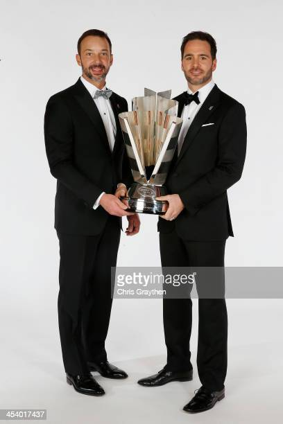 Sprint Cup Series Champion Jimmie Johnson and his crew chief Chad Knaus pose for a portrait prior to the NASCAR Sprint Cup Series Champion's Awards...