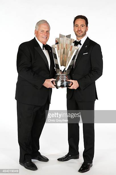 Sprint Cup Series Champion Jimmie Johnson and team owner Rick Hendrick pose for a portrait prior to the NASCAR Sprint Cup Series Champion's Awards at...