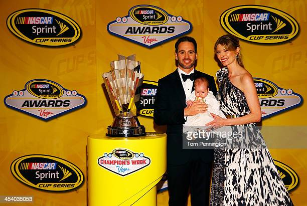 Sprint Cup Series Champion Jimmie Johnson his wife Chandra and daughter Lydia Norriss pose prior to the NASCAR Sprint Cup Series Champion's Awards at...