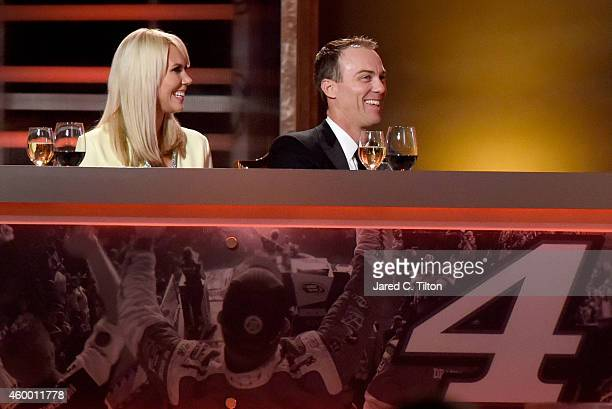 Sprint Cup Series Champion Kevin Harvick and his wife DeLana Harvick react during the 2014 NASCAR Sprint Cup Awards at Wynn Las Vegas on December 5,...