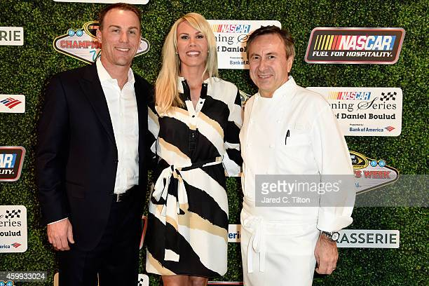 Sprint Cup Series Champion Kevin Harvick poses with his wife DeLana and Chef Daniel Boulud during the NASCAR Evening Series presented by Bank of...
