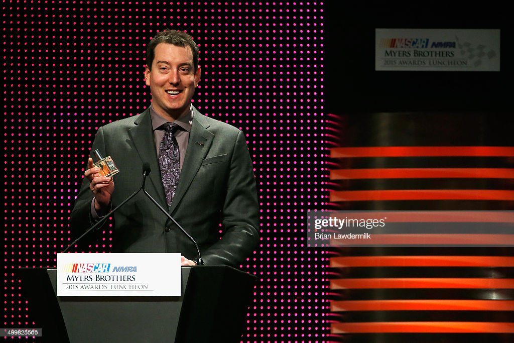 Sprint Cup Series champion Kyle Busch speaks onstage during the 2015 NASCAR NMPA Myers Brothers Awards Luncheon at Encore Las Vegas on December 3, 2015 in Las Vegas, Nevada.