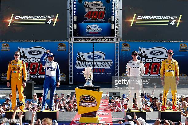 NASCAR Sprint Cup Series Chase drivers Kyle Busch driver of the MM's Toyota Jimmie Johnson driver of the Lowe's Chevrolet Carl Edwards driver of the...