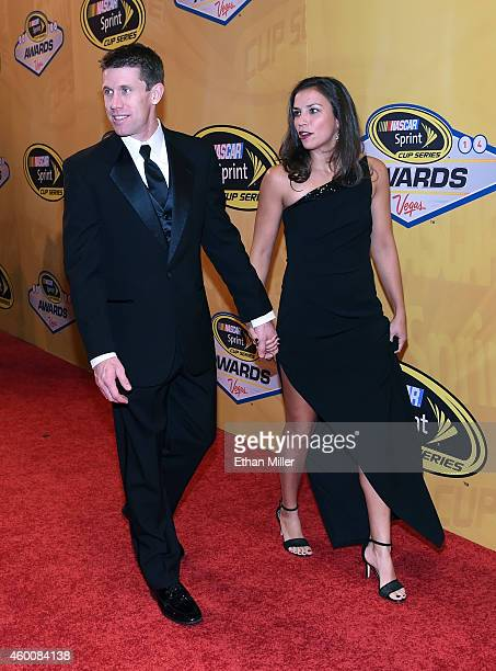 Sprint Cup Series driver Carl Edwards and his wife Dr Kate Edwards arrive at the 2014 NASCAR Sprint Cup Series Awards at Wynn Las Vegas on December 5...