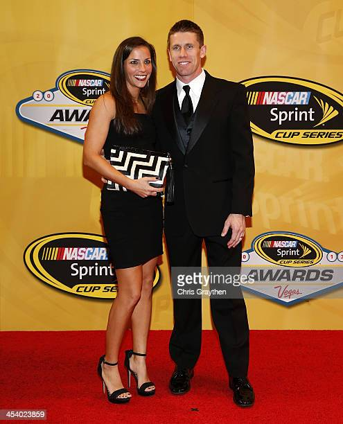 Sprint Cup Series driver Carl Edwards and wife Dr Kate Edwards arrive on the red carpet for the NASCAR Sprint Cup Series Champion's Awards at Wynn...
