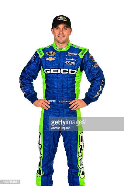 Sprint Cup Series driver Casey Mears poses for a portrait during the 2014 NASCAR Media Day at Daytona International Speedway on February 13 2014 in...