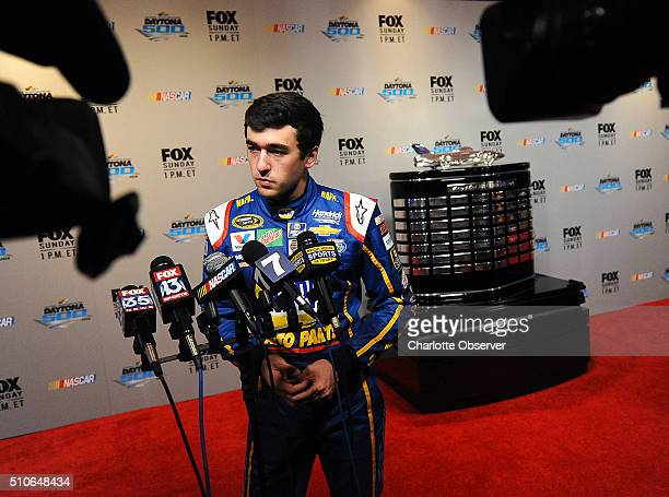 Sprint Cup Series driver Chase Elliott listens to a question during the NASCAR Media Day at Daytona International Speedway on Tuesday Feb 16 2016 in...