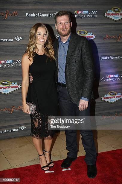 Sprint Cup Series driver Dale Earnhardt Jr and fiancee Amy Reimann attend the NASCAR Evening Series presented by Bank of America at Border Grill...