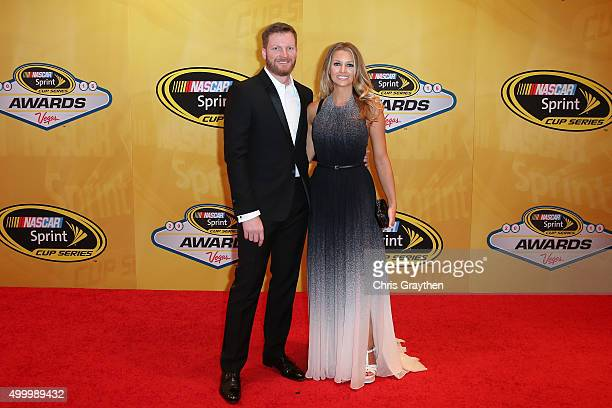 Sprint Cup Series driver Dale Earnhardt Jr and fiancee Amy Reimann attend the 2015 NASCAR Sprint Cup Series Awards at Wynn Las Vegas on December 4...