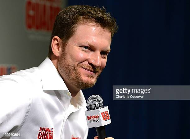 Sprint Cup Series driver Dale Earnhardt Jr listens to a question during the Sprint media tour at Hendrick Motorsports in Charlotte North Carolina...