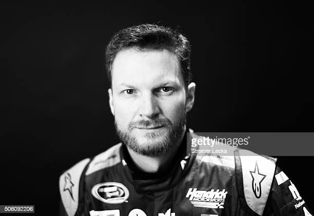 NASCAR Sprint Cup Series driver Dale Earnhardt Jr poses for a portrait during day 3 of the 2016 Charlotte Motor Speedway Media Tour at NASCAR Hall of...