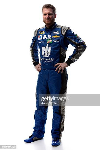 Sprint Cup Series driver Dale Earnhardt Jr poses for a portrait during NASCAR Media Day at Daytona International Speedway on February 16 2016 in...