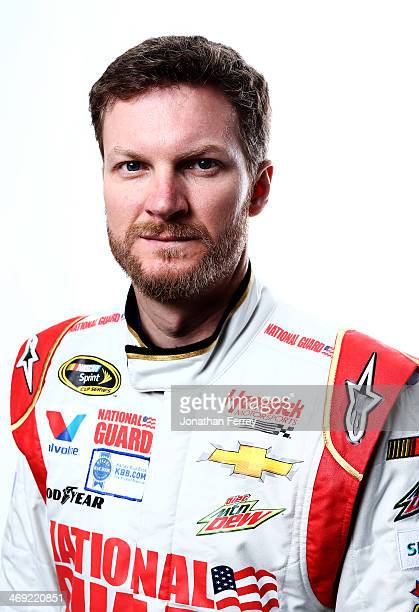 Sprint Cup Series driver Dale Earnhardt Jr poses for a stylized portrait during the 2014 NASCAR Media Day at Daytona International Speedway on...