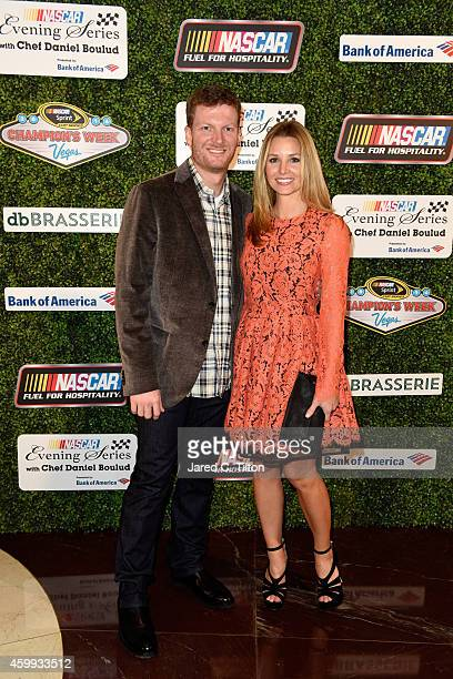 Sprint Cup Series driver Dale Earnhardt Jr poses with his girlfriend Amy Reimann during the NASCAR Evening Series with Chef Daniel Boulud presented...