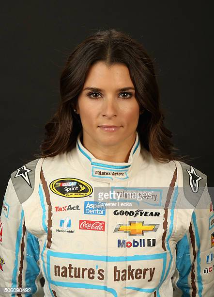 Sprint Cup Series driver Danica Patrick poses for a portrait during day 3 of the 2016 Charlotte Motor Speedway Media Tour at NASCAR Hall of Fame on...
