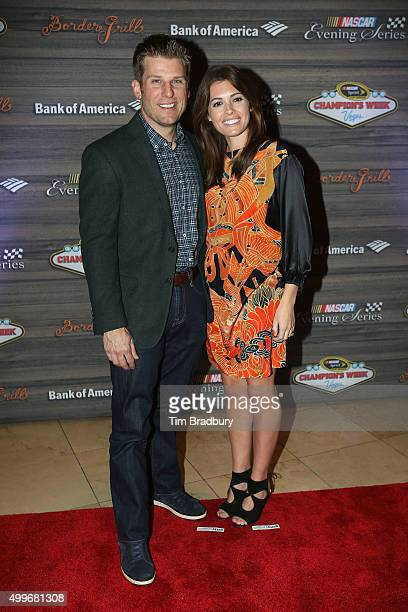 Sprint Cup Series driver Jamie McMurray and wife Christy Futrell attend the NASCAR Evening Series presented by Bank of America at Border Grill inside...