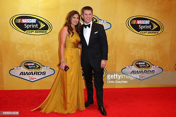 Sprint Cup Series driver Jamie McMurray and wife Christy Futrell attend the 2015 NASCAR Sprint Cup Series Awards at Wynn Las Vegas on December 4 2015...
