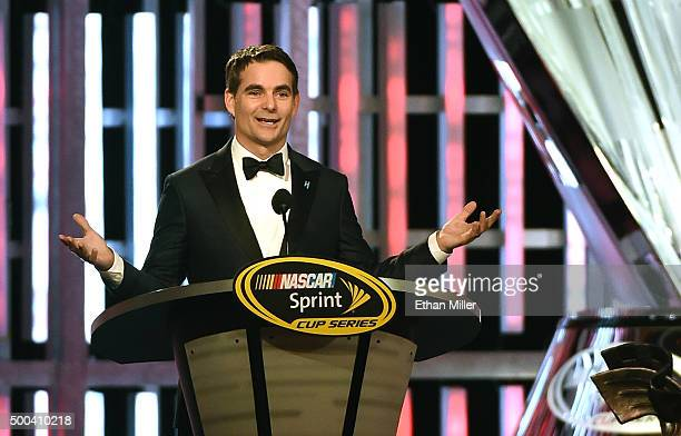 Sprint Cup Series driver Jeff Gordon accepts the Bill France Award of Excellence during the 2015 NASCAR Sprint Cup Series Awards show at Wynn Las...