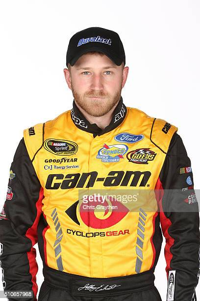 Sprint Cup Series driver Jeffrey Earnhardt poses for a portrait during NASCAR Media Day at Daytona International Speedway on February 16 2016 in...