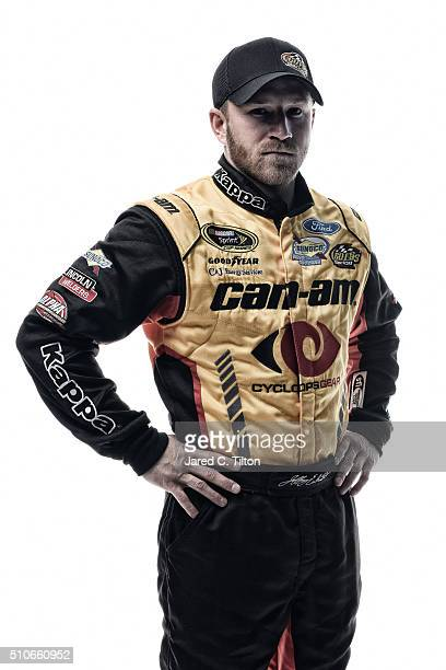 NASCAR Sprint Cup Series driver Jeffrey Earnhardt poses for a portrait during NASCAR Media Day at Daytona International Speedway on February 16 2016...