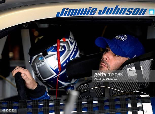 Sprint Cup Series driver Jimmie Johnson following practice at Daytona International Speedway in Daytona Beach Fla on Saturday Feb 21 2015